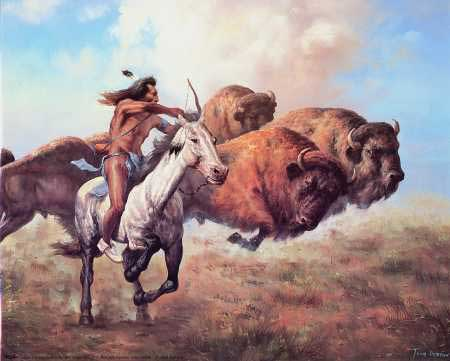 native american hunts buffalo with bow