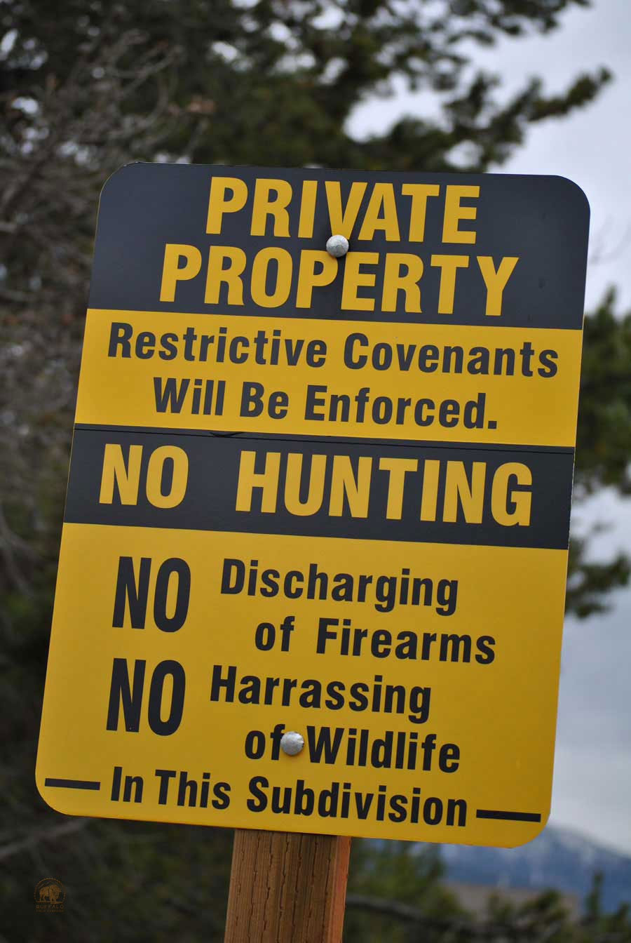 private property bison safe zone sign